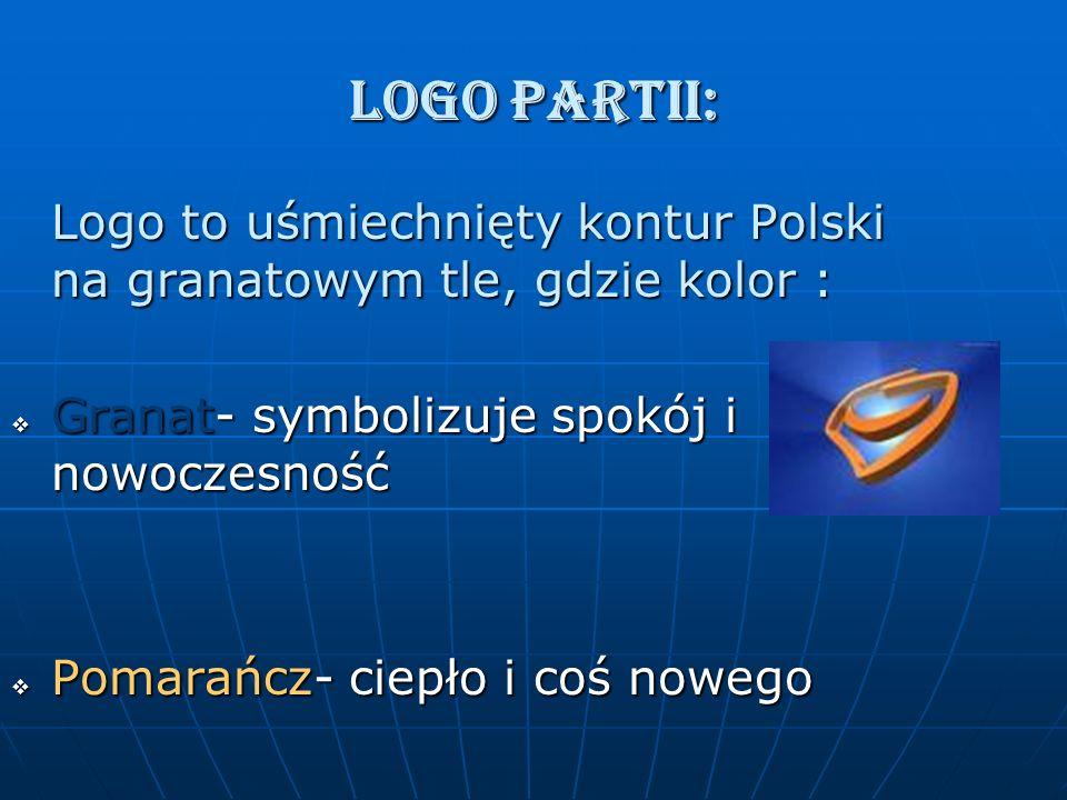 LOGO PARTII: Logo to uśmiechnięty kontur Polski na granatowym tle, gdzie kolor : Granat- symbolizuje spokój i nowoczesność Granat- symbolizuje spokój