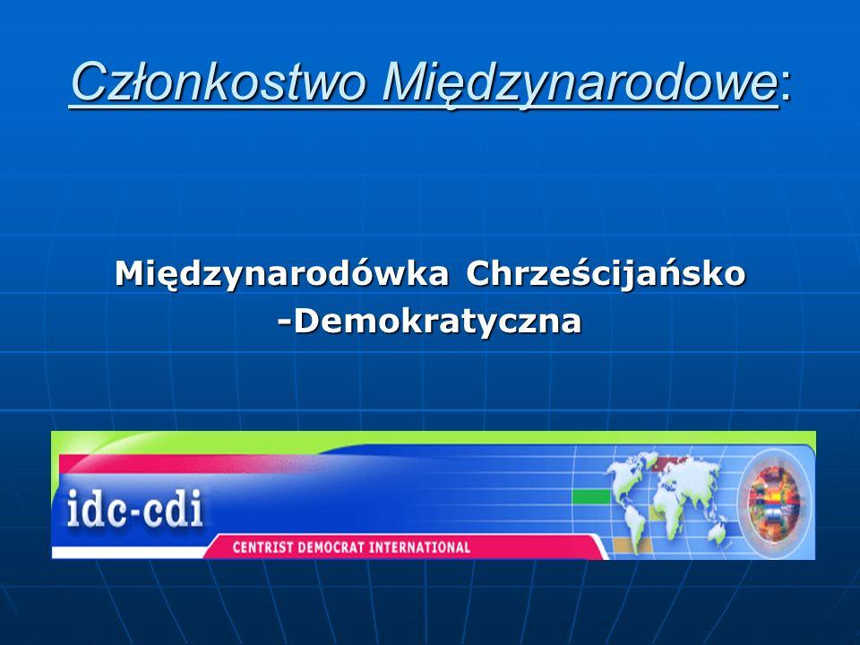 Członkostwo Międzynarodowe: Międzynarodówka Chrześcijańsko -Demokratyczna