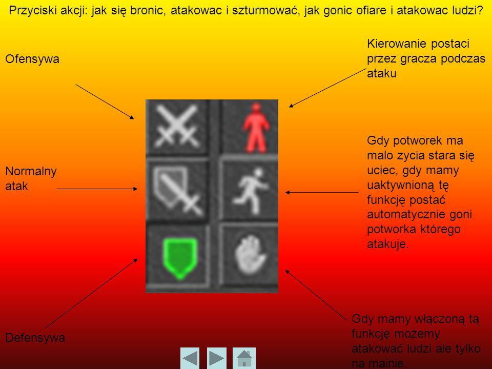 Przyciski akcji: jak się bronic, atakowac i szturmować, jak gonic ofiare i atakowac ludzi.