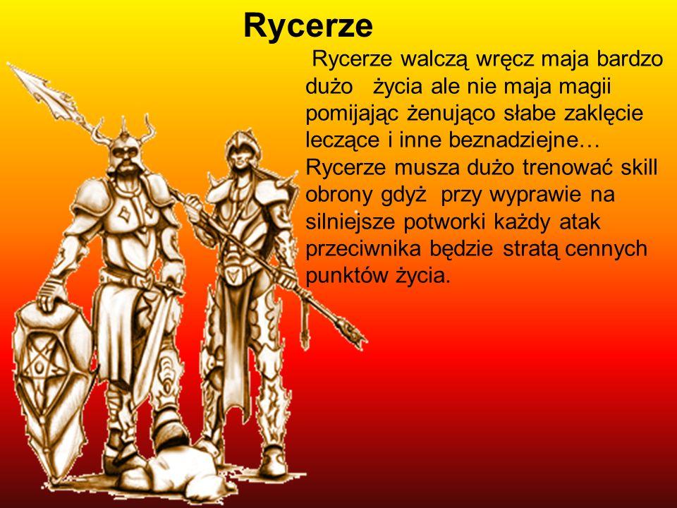 Rycerze walczą wręcz maja bardzo dużo życia ale nie maja magii pomijając żenująco słabe zaklęcie leczące i inne beznadziejne… Rycerze musza dużo treno