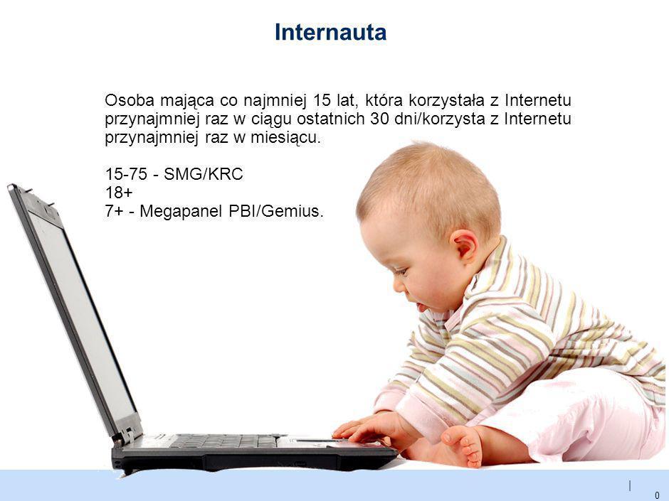 | Internauta 0 Osoba mająca co najmniej 15 lat, która korzystała z Internetu przynajmniej raz w ciągu ostatnich 30 dni/korzysta z Internetu przynajmniej raz w miesiącu.