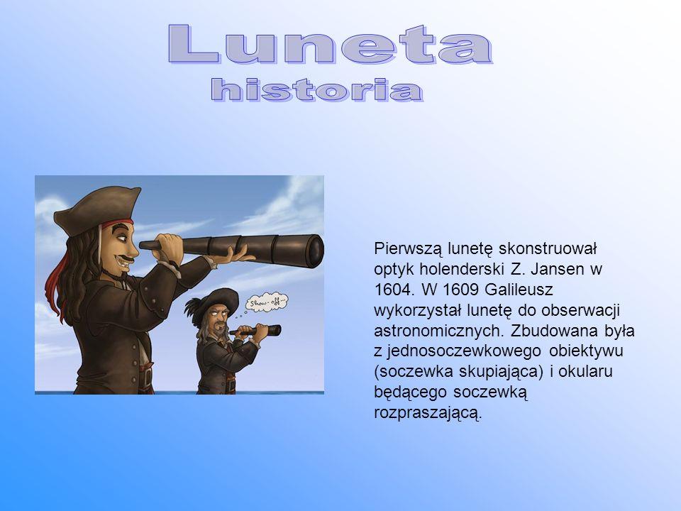 Pierwszą lunetę skonstruował optyk holenderski Z. Jansen w 1604. W 1609 Galileusz wykorzystał lunetę do obserwacji astronomicznych. Zbudowana była z j