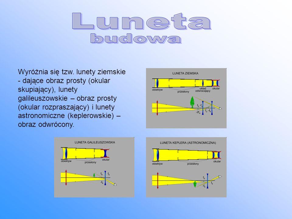 Wyróżnia się tzw. lunety ziemskie - dające obraz prosty (okular skupiający), lunety galileuszowskie – obraz prosty (okular rozpraszający) i lunety ast