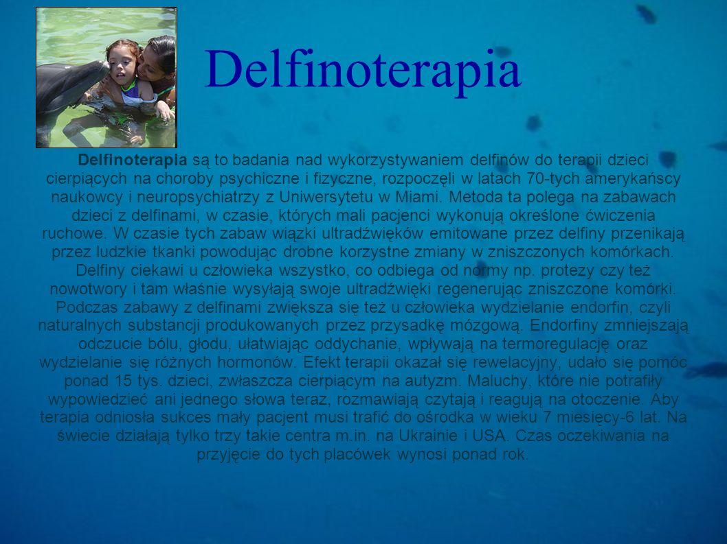 Delfinoterapia Delfinoterapia są to badania nad wykorzystywaniem delfinów do terapii dzieci cierpiących na choroby psychiczne i fizyczne, rozpoczęli w