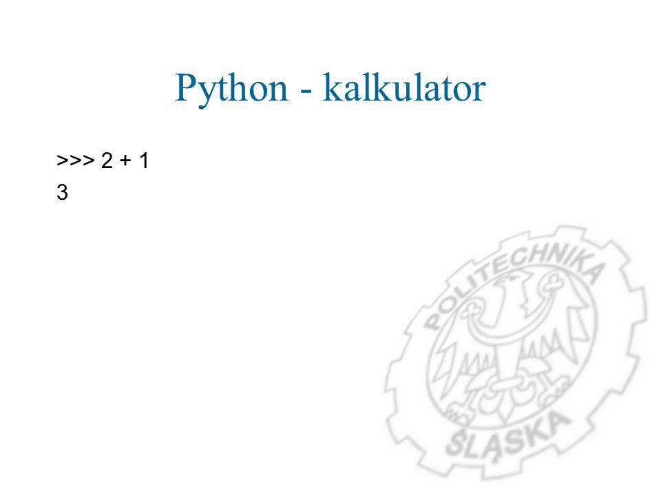 Operacje na liczbach zespolonych >>> (1 + 3j) * 2j (-6+2j) >>> (1 + 3j) / 2j (1.5-0.5j)