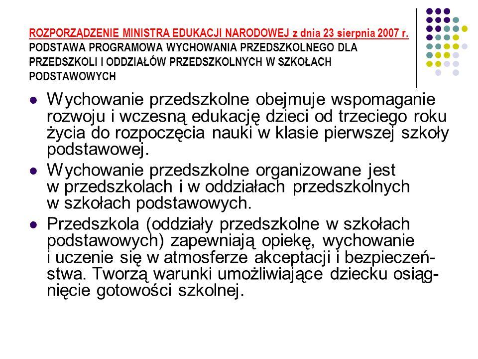 ROZPORZĄDZENIE MINISTRA EDUKACJI NARODOWEJ z dnia 23 sierpnia 2007 r.
