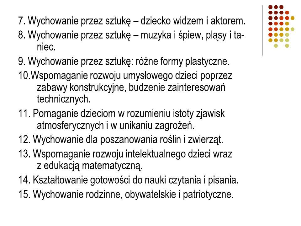 7.Wychowanie przez sztukę – dziecko widzem i aktorem.