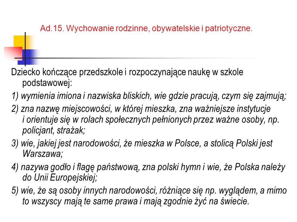 Ad.15.Wychowanie rodzinne, obywatelskie i patriotyczne.
