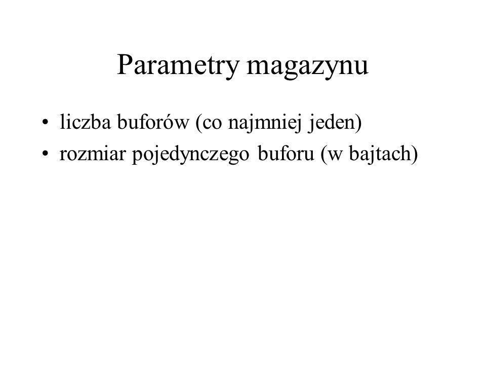 Parametry magazynu liczba buforów (co najmniej jeden) rozmiar pojedynczego buforu (w bajtach)