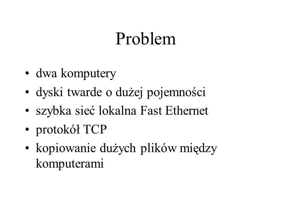 Problem dwa komputery dyski twarde o dużej pojemności szybka sieć lokalna Fast Ethernet protokół TCP kopiowanie dużych plików między komputerami