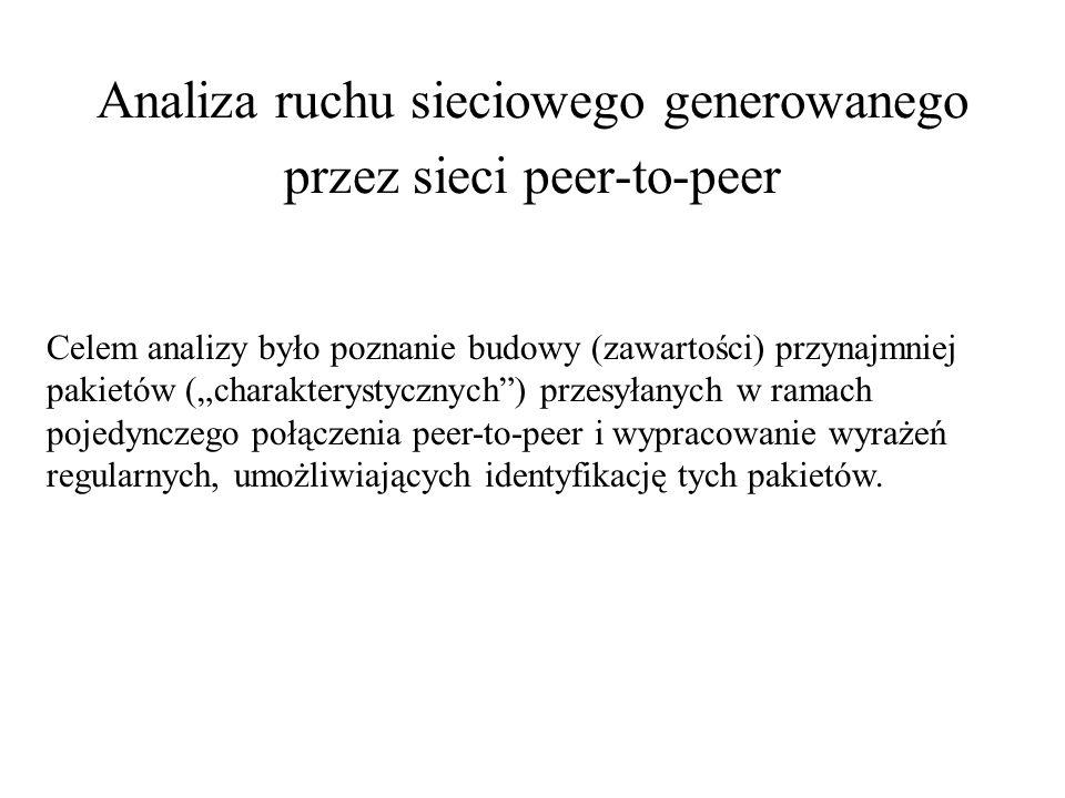 Analiza ruchu sieciowego generowanego przez sieci peer-to-peer Celem analizy było poznanie budowy (zawartości) przynajmniej pakietów (charakterystyczn