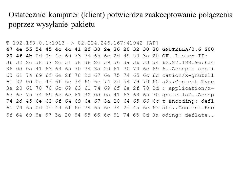 Ostatecznie komputer (klient) potwierdza zaakceptowanie połączenia poprzez wysyłanie pakietu T 192.168.0.1:1913 -> 82.224.246.167:41942 [AP] 47 4e 55