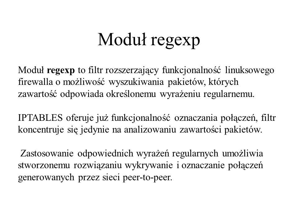Moduł regexp Moduł regexp to filtr rozszerzający funkcjonalność linuksowego firewalla o możliwość wyszukiwania pakietów, których zawartość odpowiada o
