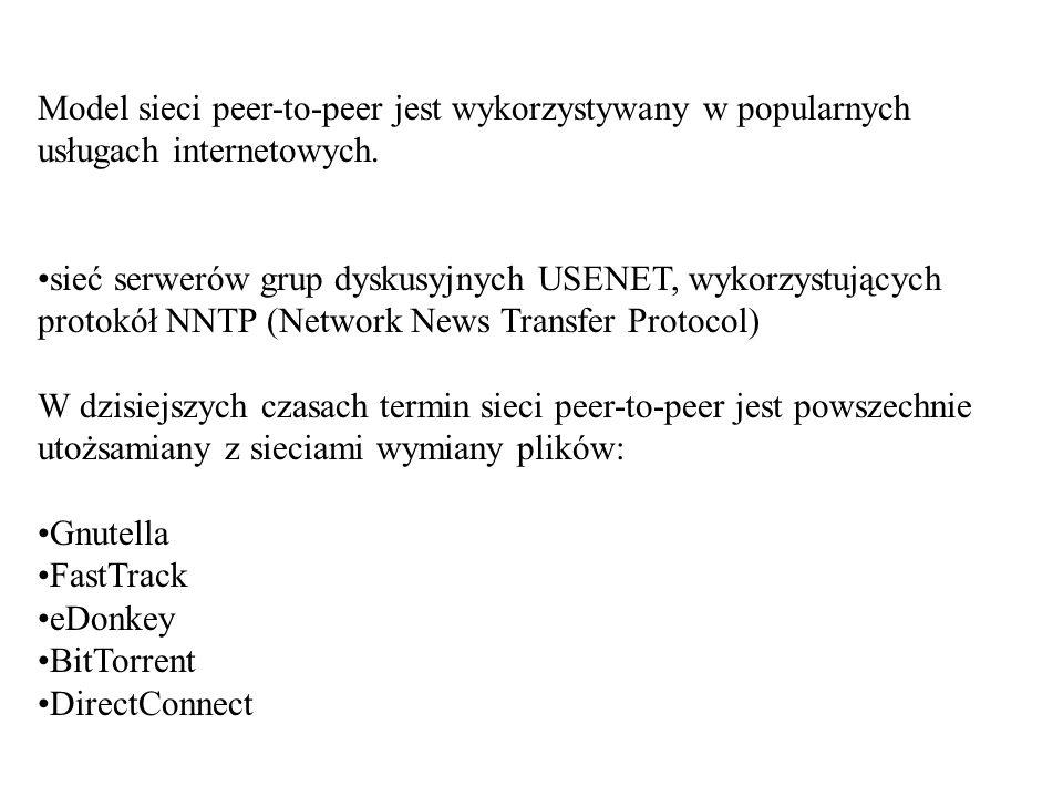 Model sieci peer-to-peer jest wykorzystywany w popularnych usługach internetowych. sieć serwerów grup dyskusyjnych USENET, wykorzystujących protokół N