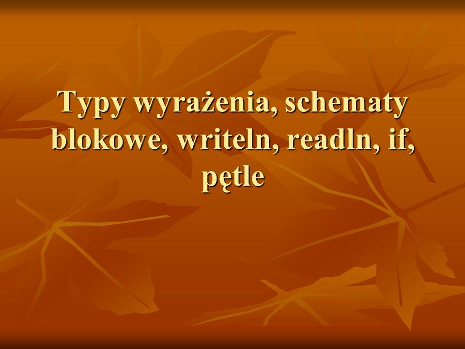 Przykłady Zapisać bez użycia for instrukcję Zapisać bez użycia for instrukcję for z:=w1 to w2 do I for z:=w1 to w2 do I