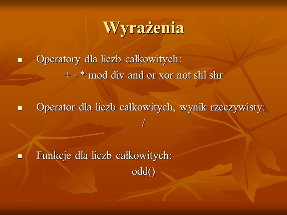 Iteracje: pętla for program przyk_for; var c: char; begin for c:=a to z do write(c); write(c); writeln; end.