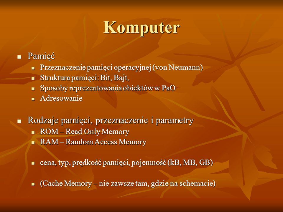 Komputer Pamięć Pamięć Przeznaczenie pamięci operacyjnej (von Neumann) Przeznaczenie pamięci operacyjnej (von Neumann) Struktura pamięci: Bit, Bajt, S