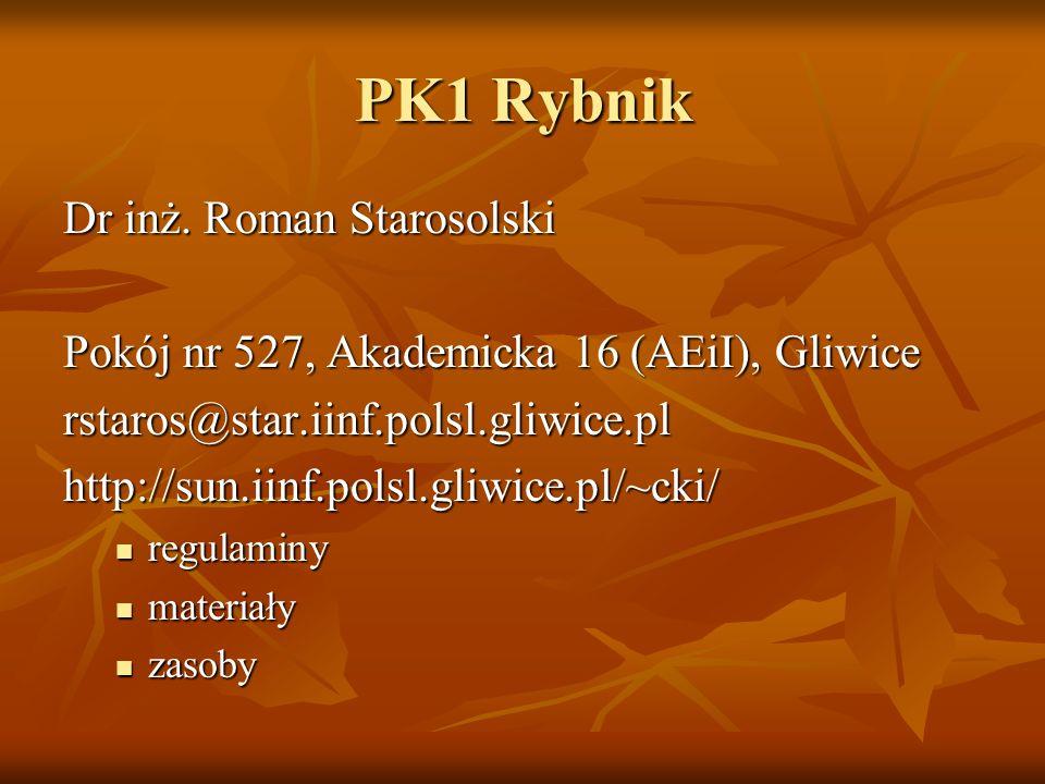 PK1 Rybnik Dr inż. Roman Starosolski Pokój nr 527, Akademicka 16 (AEiI), Gliwice rstaros@star.iinf.polsl.gliwice.pl http://sun.iinf.polsl.gliwice.pl/~