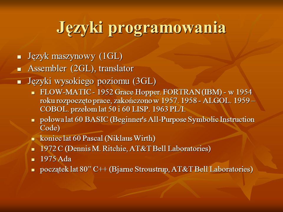 Języki programowania Język maszynowy (1GL) Język maszynowy (1GL) Assembler (2GL), translator Assembler (2GL), translator Języki wysokiego poziomu (3GL