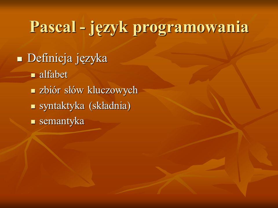 Pascal - język programowania Definicja języka Definicja języka alfabet alfabet zbiór słów kluczowych zbiór słów kluczowych syntaktyka (składnia) synta