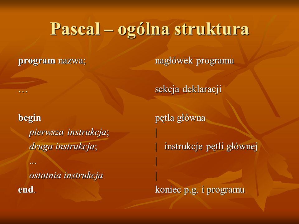 Pascal – ogólna struktura program nazwa; …begin pierwsza instrukcja; druga instrukcja;... ostatnia instrukcja end. nagłówek programu sekcja deklaracji