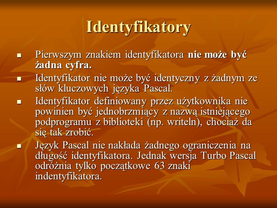 Identyfikatory Pierwszym znakiem identyfikatora nie może być żadna cyfra. Pierwszym znakiem identyfikatora nie może być żadna cyfra. Identyfikator nie