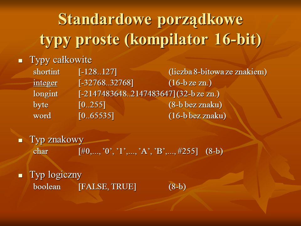 Standardowe porządkowe typy proste (kompilator 16-bit) Typy całkowite Typy całkowite shortint [-128..127] (liczba 8-bitowa ze znakiem) integer [-32768