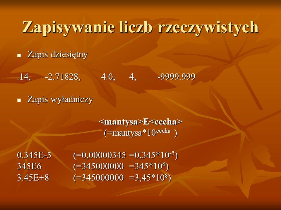Zapisywanie liczb rzeczywistych Zapis dziesiętny Zapis dziesiętny.14, -2.71828, 4.0, 4, -9999.999 Zapis wyładniczy Zapis wyładniczy<mantysa>E<cecha> (