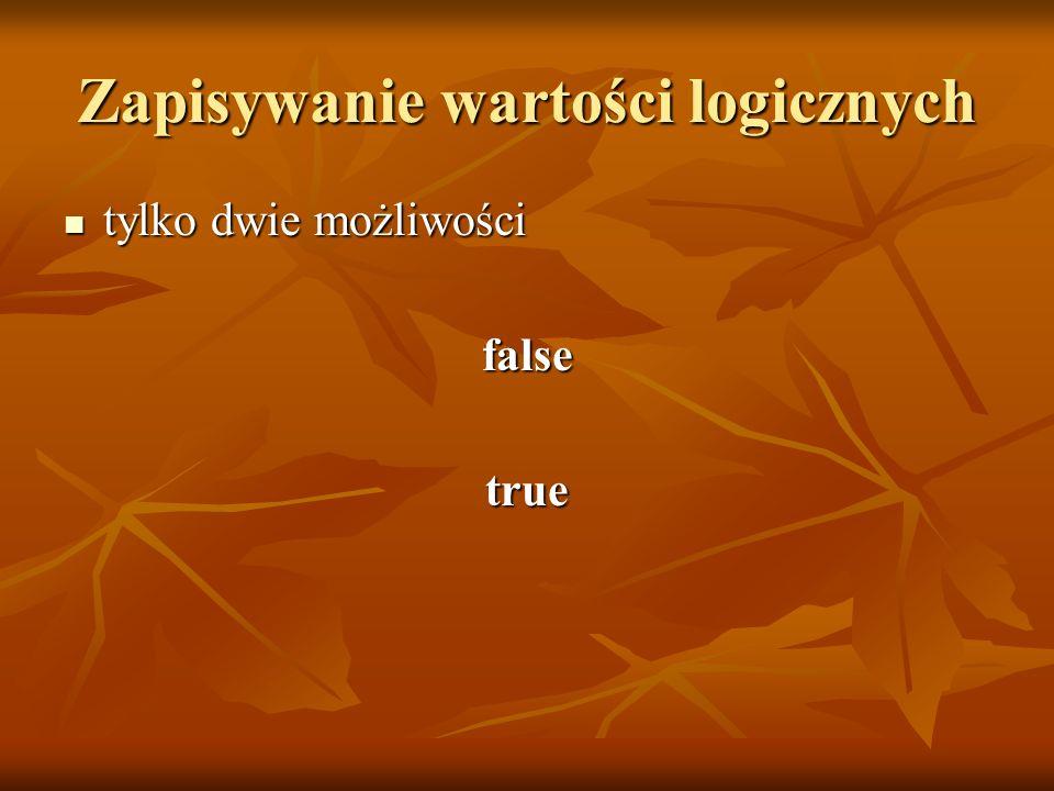 Zapisywanie wartości logicznych tylko dwie możliwości tylko dwie możliwościfalsetrue