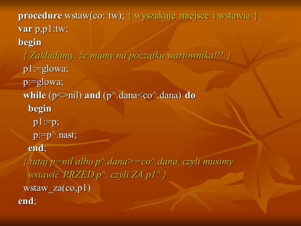 procedure wstaw(co: tw); { wyszukuje miejsce i wstawia } var p,p1:tw; begin { Zakładamy, że mamy na początku wartownika!!! } { Zakładamy, że mamy na p