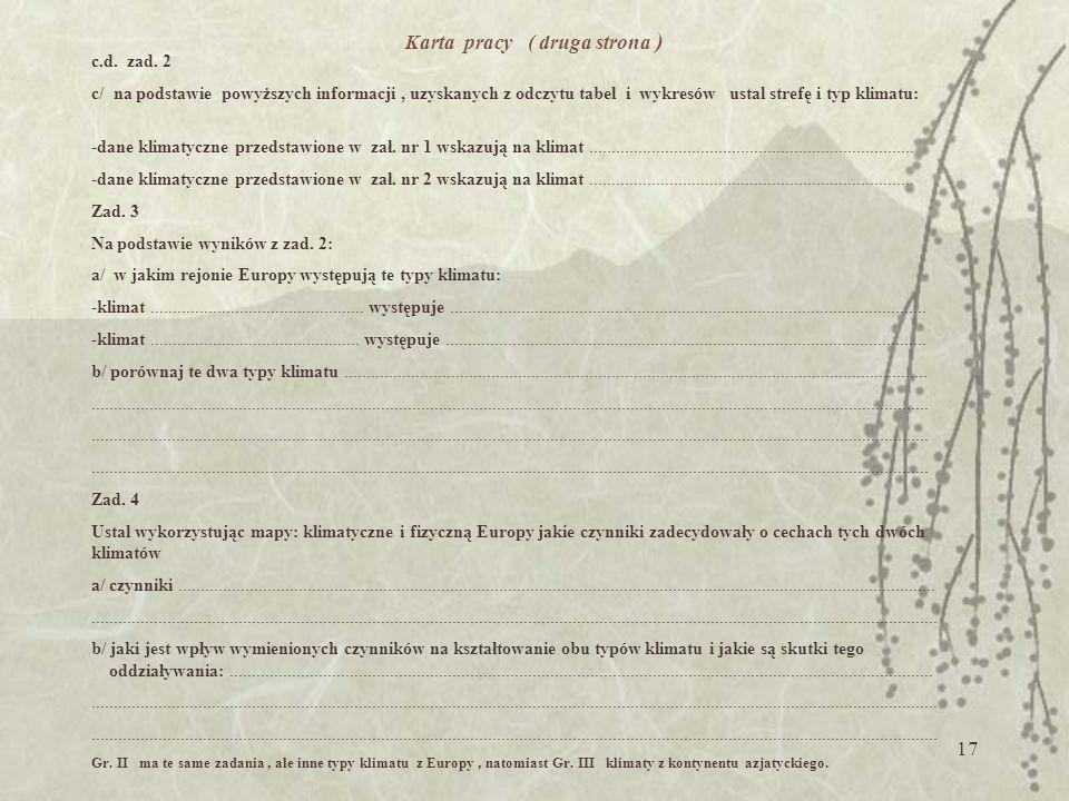 16 Karta pracy Zadania należy wykonywać na podstawie: -załącznika nr 1 -załącznika nr 2 -map tematycznych znajdujących się w atlasie ( klimatycznych,
