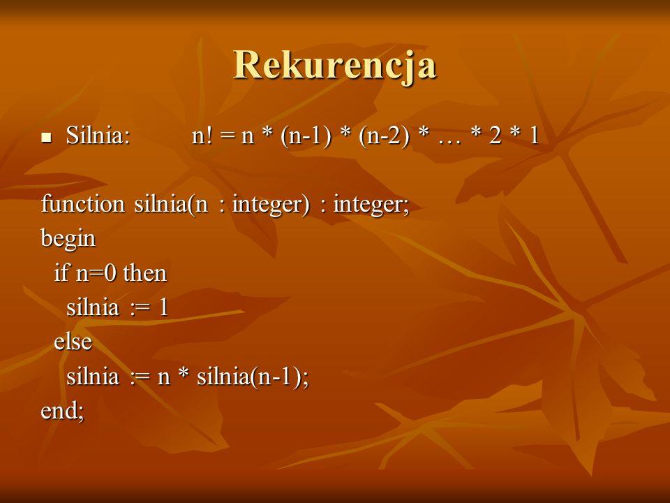 Rekurencja Silnia: n! = n * (n-1) * (n-2) * … * 2 * 1 Silnia: n! = n * (n-1) * (n-2) * … * 2 * 1 function silnia(n : integer) : integer; begin if n=0