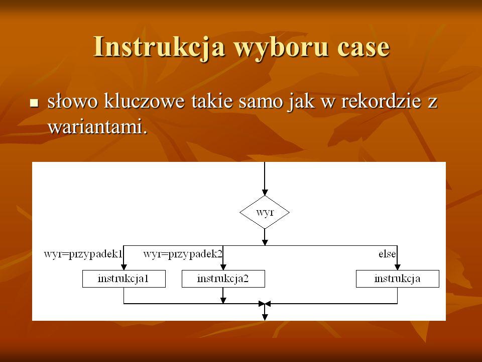 Instrukcja wyboru case słowo kluczowe takie samo jak w rekordzie z wariantami.