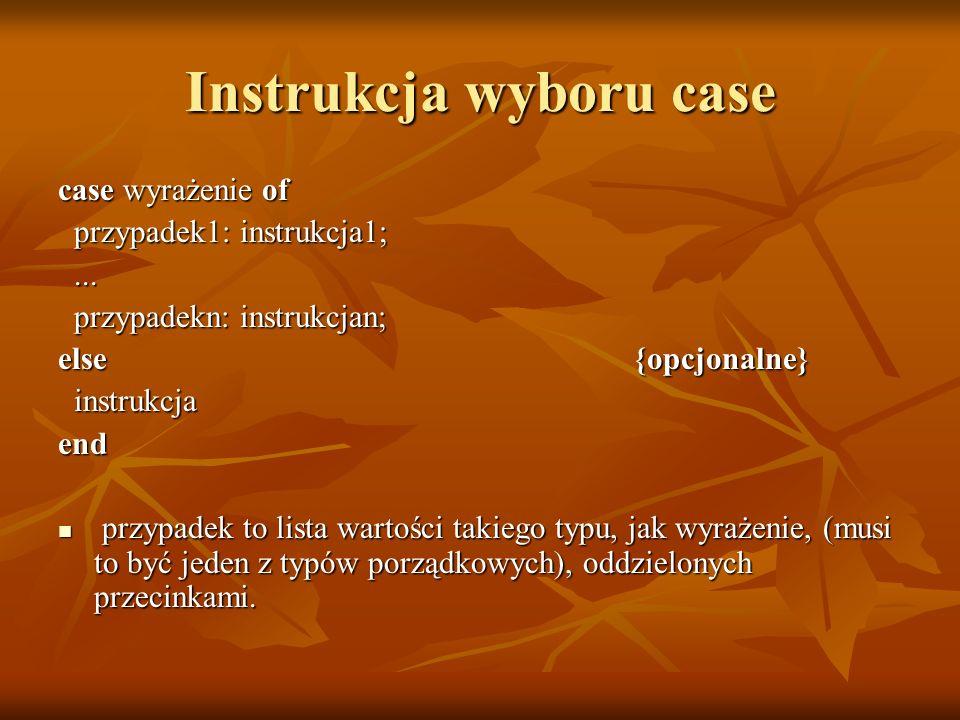 Instrukcja wyboru case case wyrażenie of przypadek1: instrukcja1; przypadek1: instrukcja1;......