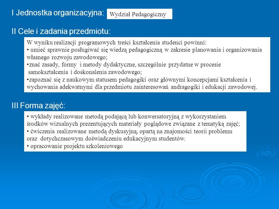 I Jednostka organizacyjna: II Cele i zadania przedmiotu: III Forma zajęć: Wydział Pedagogiczny W wyniku realizacji programowych treści kształcenia stu