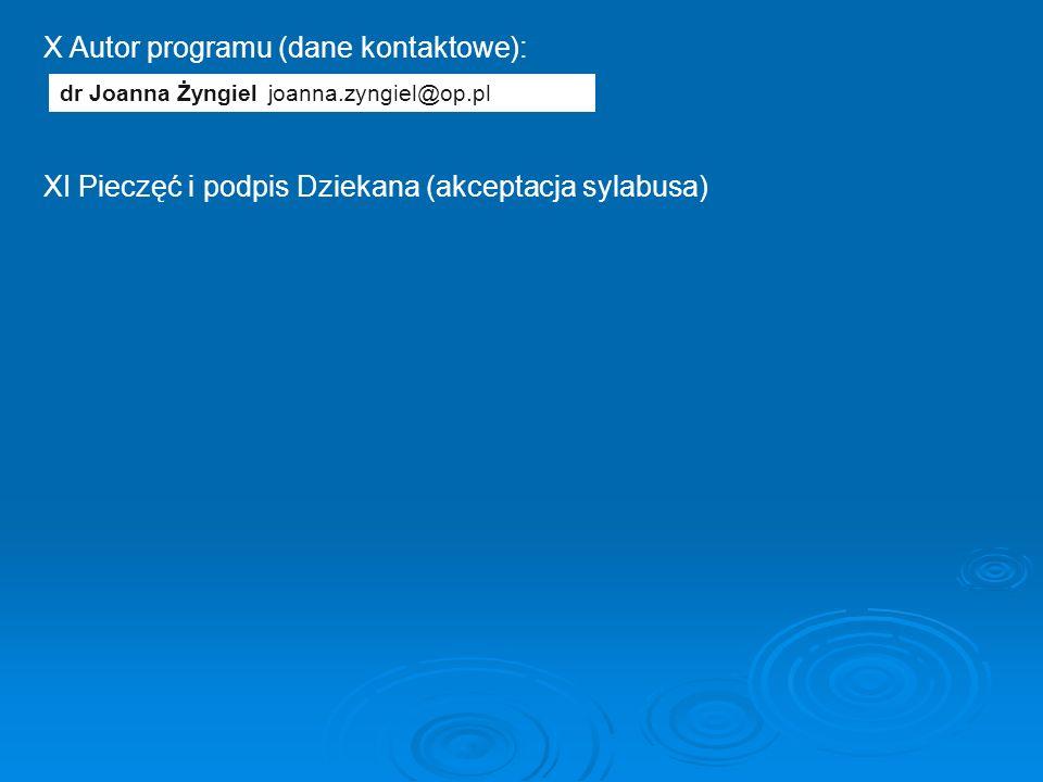 X Autor programu (dane kontaktowe): XI Pieczęć i podpis Dziekana (akceptacja sylabusa) dr Joanna Żyngieljoanna.zyngiel@op.pl