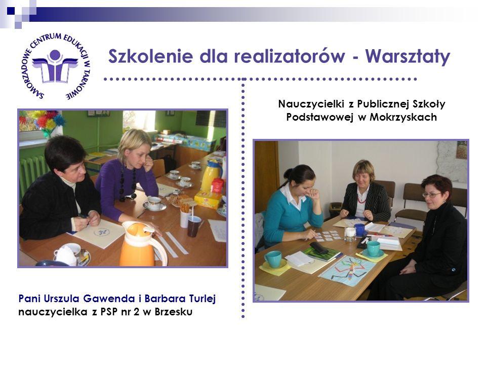 Szkolenie dla realizatorów - Warsztaty Nauczycielki z Publicznej Szkoły Podstawowej w Mokrzyskach Pani Urszula Gawenda i Barbara Turlej nauczycielka z PSP nr 2 w Brzesku