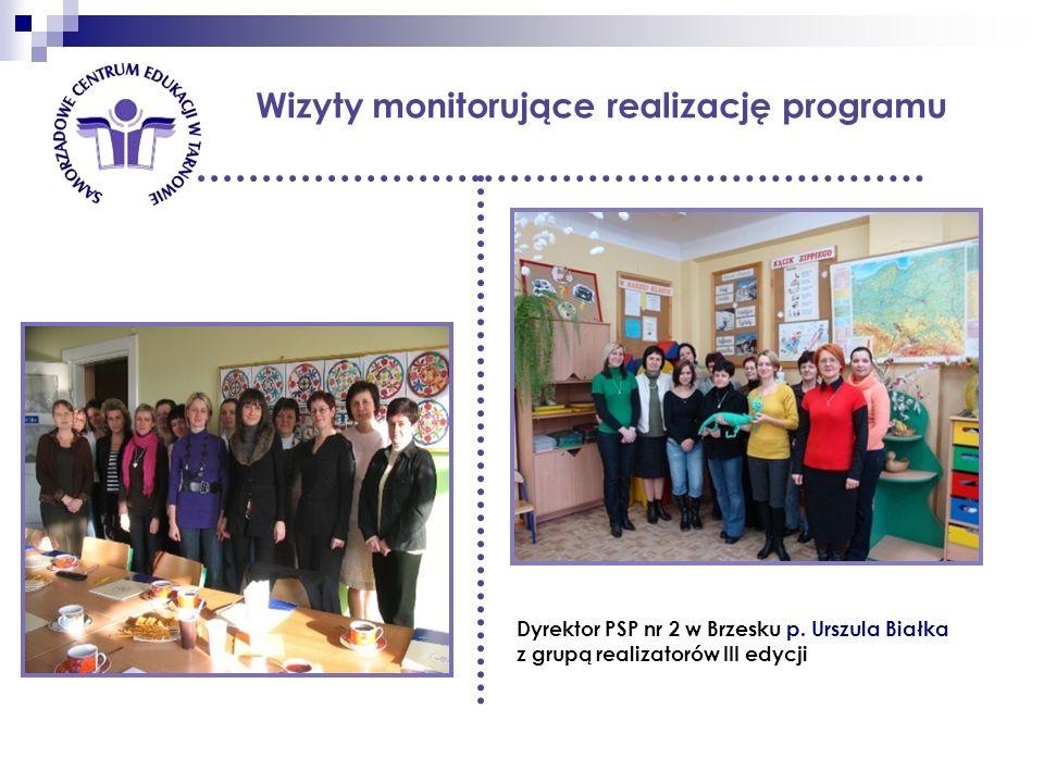 Wizyty monitorujące realizację programu Dyrektor PSP nr 2 w Brzesku p. Urszula Białka z grupą realizatorów III edycji