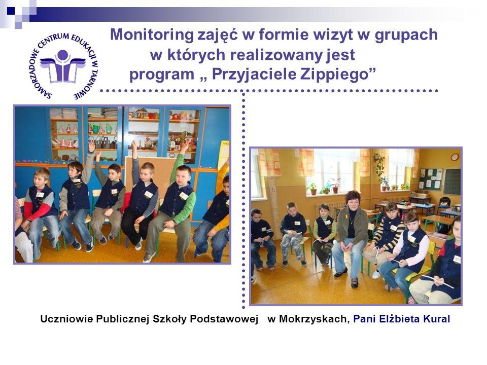 Monitoring zajęć w formie wizyt w grupach w których realizowany jest program Przyjaciele Zippiego Uczniowie Publicznej Szkoły Podstawowej w Mokrzyskach, Pani Elżbieta Kural