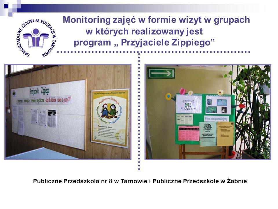 Monitoring zajęć w formie wizyt w grupach w których realizowany jest program Przyjaciele Zippiego Publiczne Przedszkola nr 8 w Tarnowie i Publiczne Przedszkole w Żabnie