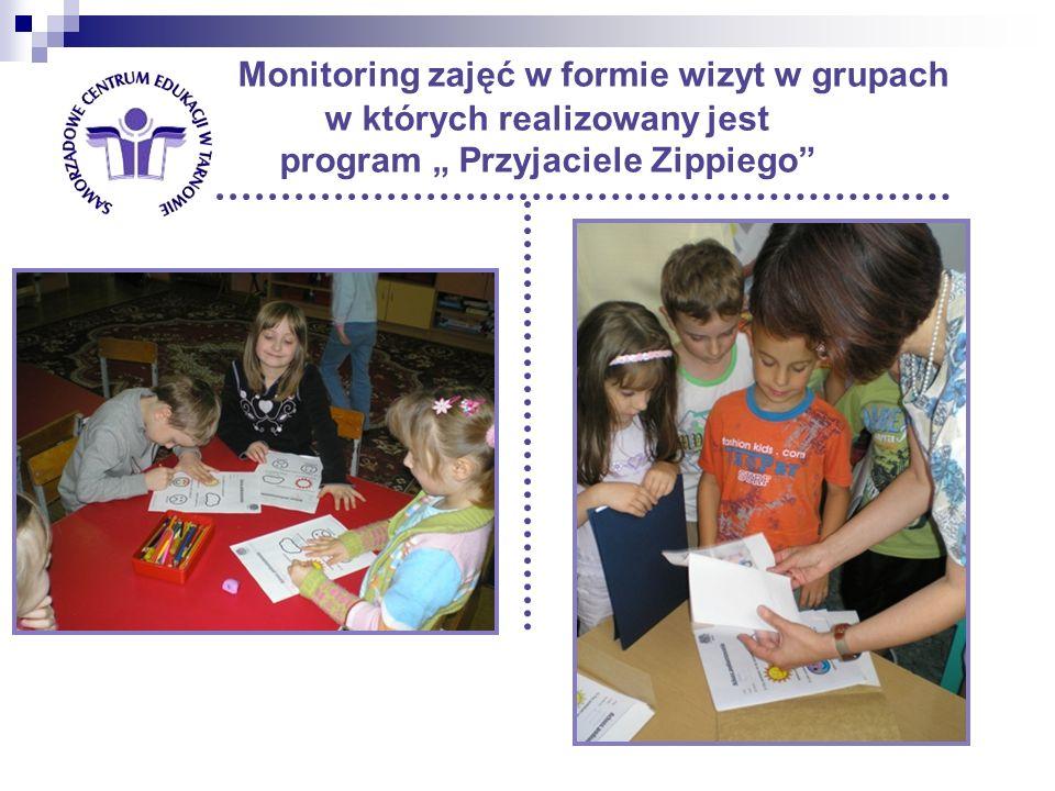Monitoring zajęć w formie wizyt w grupach w których realizowany jest program Przyjaciele Zippiego