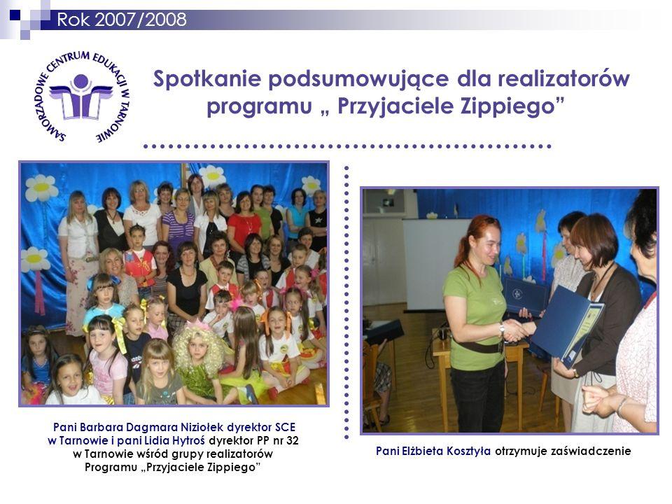Rok 2007/2008 Spotkanie podsumowujące dla realizatorów programu Przyjaciele Zippiego Pani Elżbieta Kosztyła otrzymuje zaświadczenie Pani Barbara Dagma