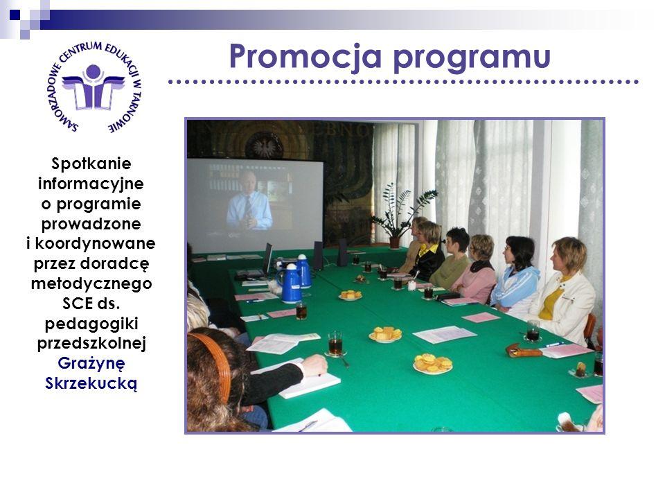 Promocja programu Spotkanie informacyjne o programie prowadzone i koordynowane przez doradcę metodycznego SCE ds. pedagogiki przedszkolnej Grażynę Skr