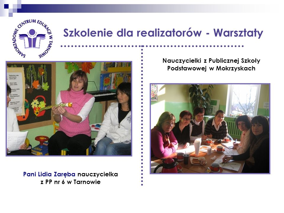 Szkolenie dla realizatorów - Warsztaty Nauczycielki z Publicznej Szkoły Podstawowej w Mokrzyskach Pani Lidia Zaręba nauczycielka z PP nr 6 w Tarnowie