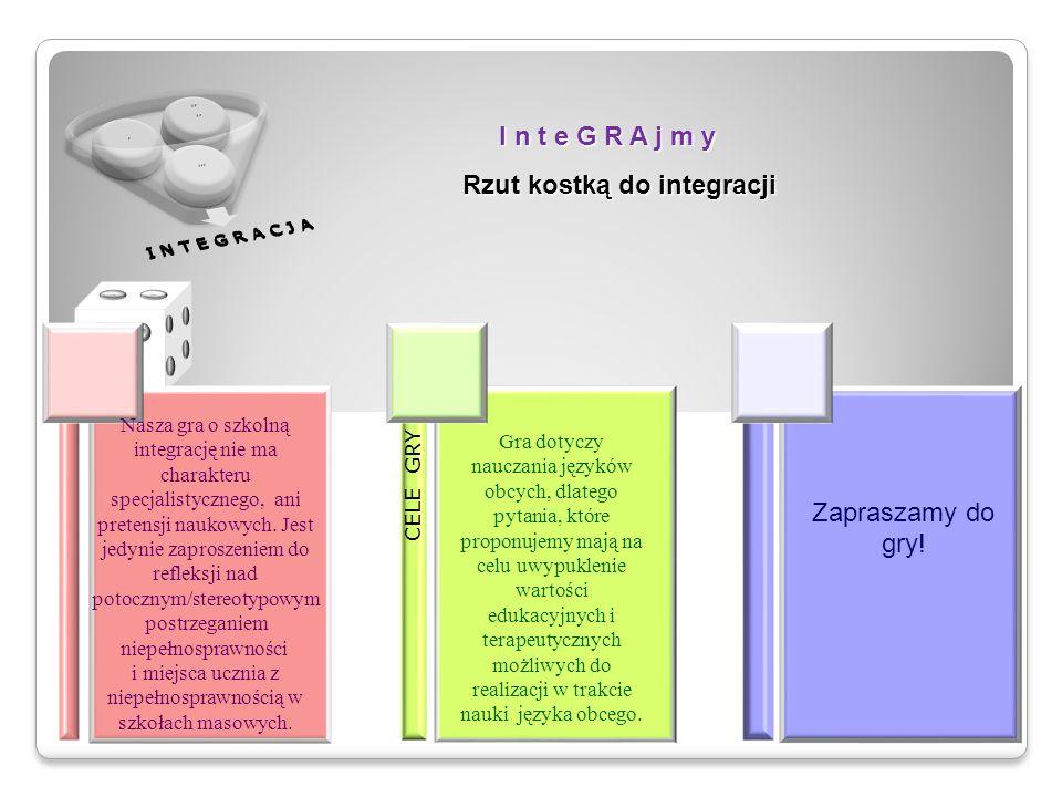 I n t e G R A j m y Rzut kostką do integracji CELE GRY Nasza gra o szkolną integrację nie ma charakteru specjalistycznego, ani pretensji naukowych. Je