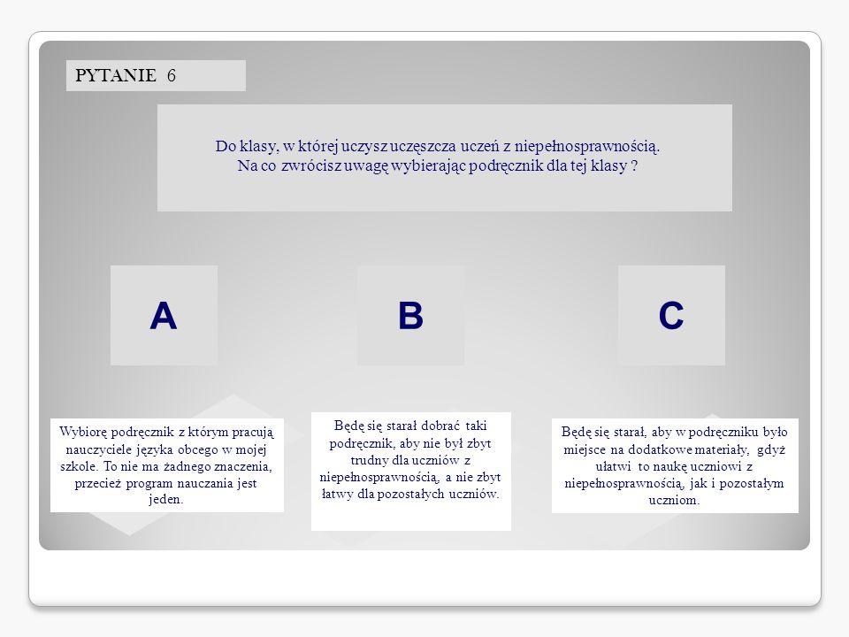 PYTANIE 6 ABC Do klasy, w której uczysz uczęszcza uczeń z niepełnosprawnością.