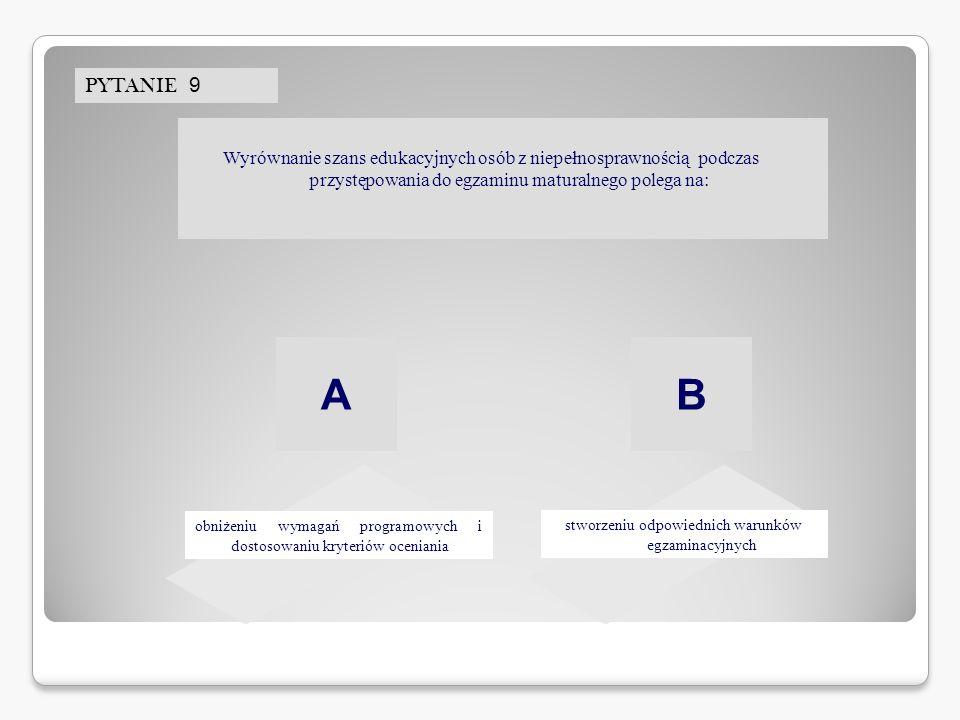 PYTANIE 9 stworzeniu odpowiednich warunków egzaminacyjnych obniżeniu wymagań programowych i dostosowaniu kryteriów oceniania AB Wyrównanie szans eduka