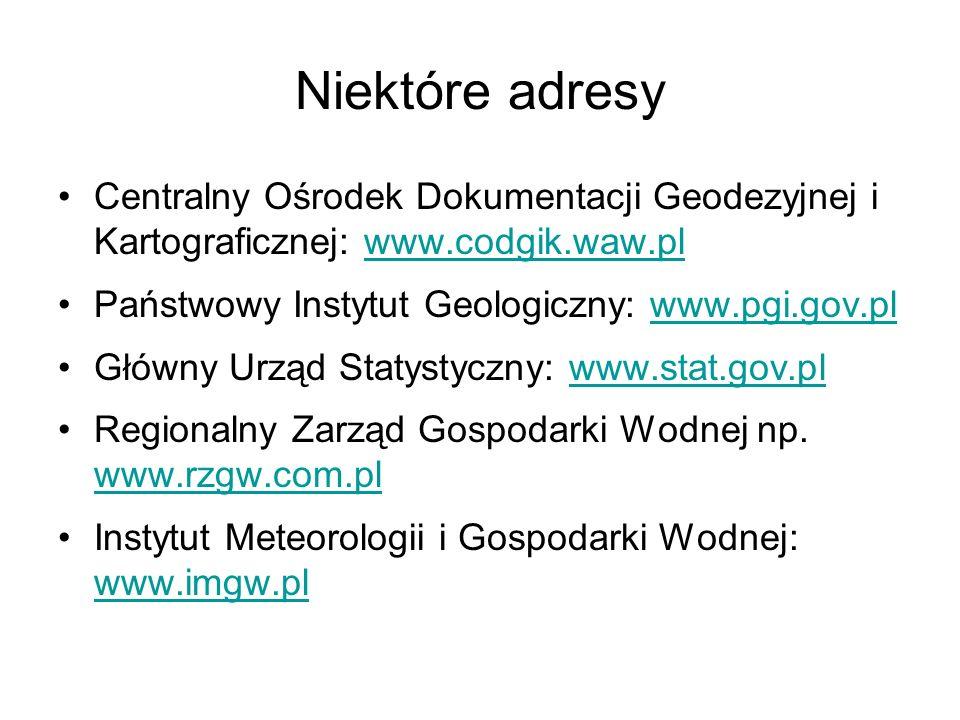 Niektóre adresy Centralny Ośrodek Dokumentacji Geodezyjnej i Kartograficznej: www.codgik.waw.plwww.codgik.waw.pl Państwowy Instytut Geologiczny: www.p