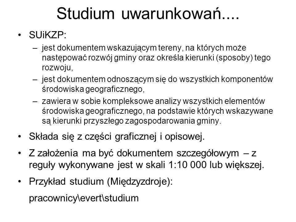 SUiKZP: –jest dokumentem wskazującym tereny, na których może następować rozwój gminy oraz określa kierunki (sposoby) tego rozwoju, –jest dokumentem od