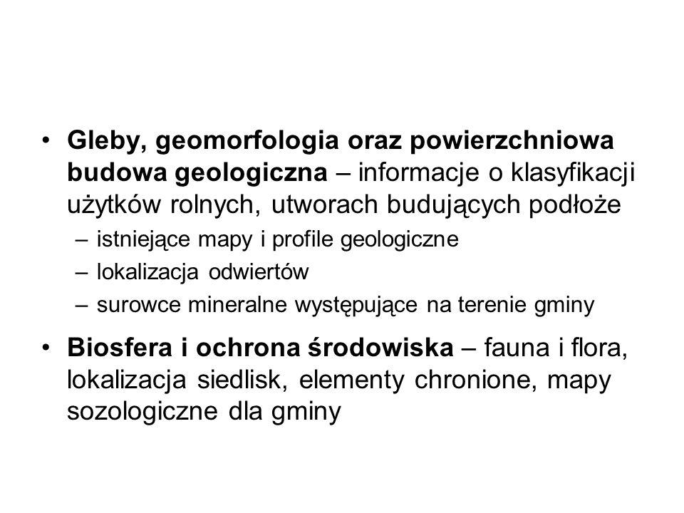 Gleby, geomorfologia oraz powierzchniowa budowa geologiczna – informacje o klasyfikacji użytków rolnych, utworach budujących podłoże –istniejące mapy